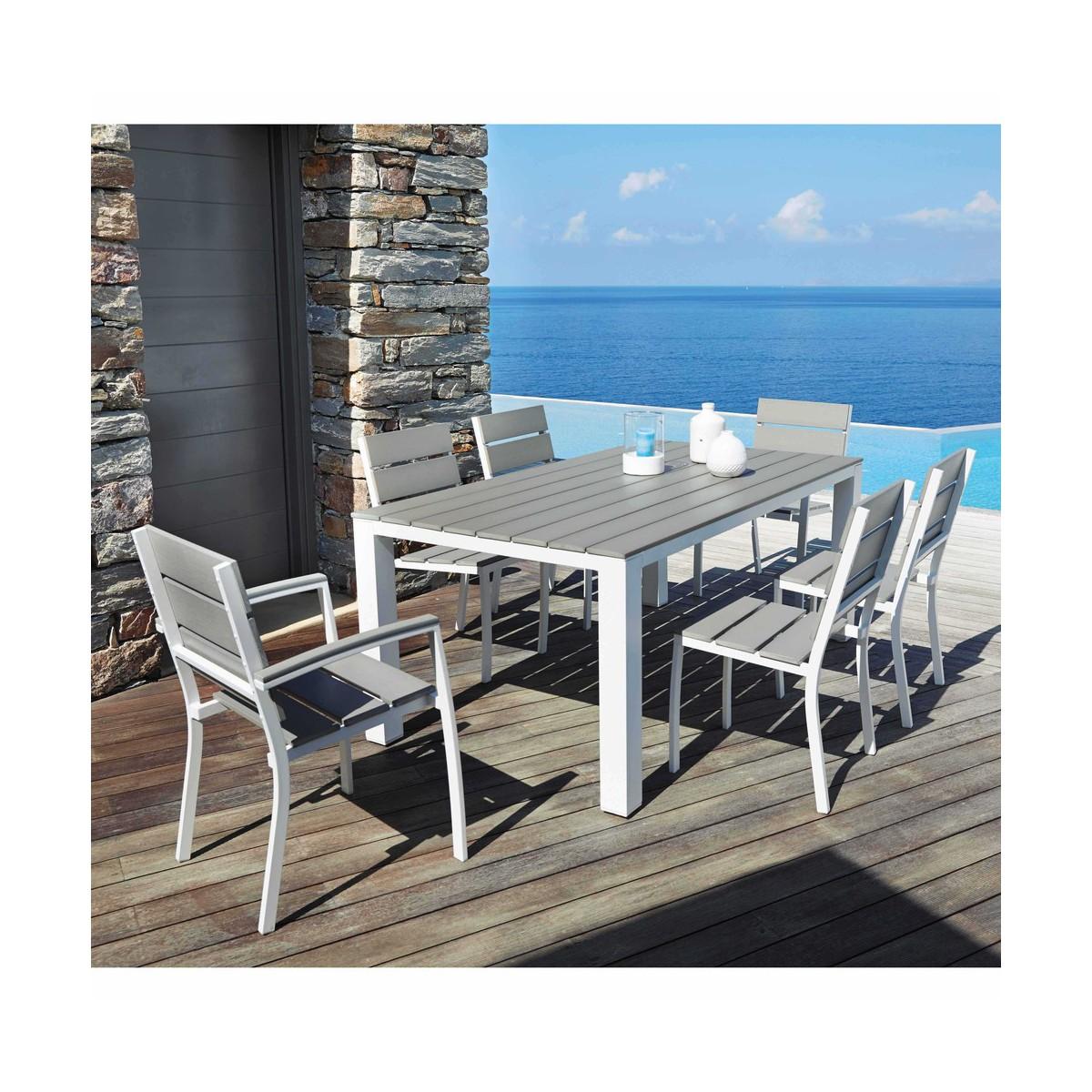 Table de jardin en composite imitation bois et aluminium gris clair ...