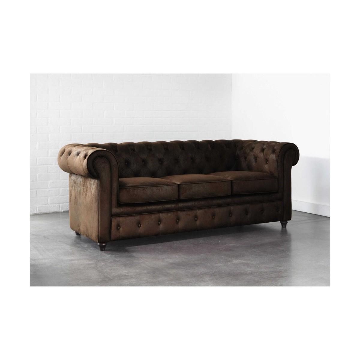 canap capitonn 3 places en su dine marron. Black Bedroom Furniture Sets. Home Design Ideas