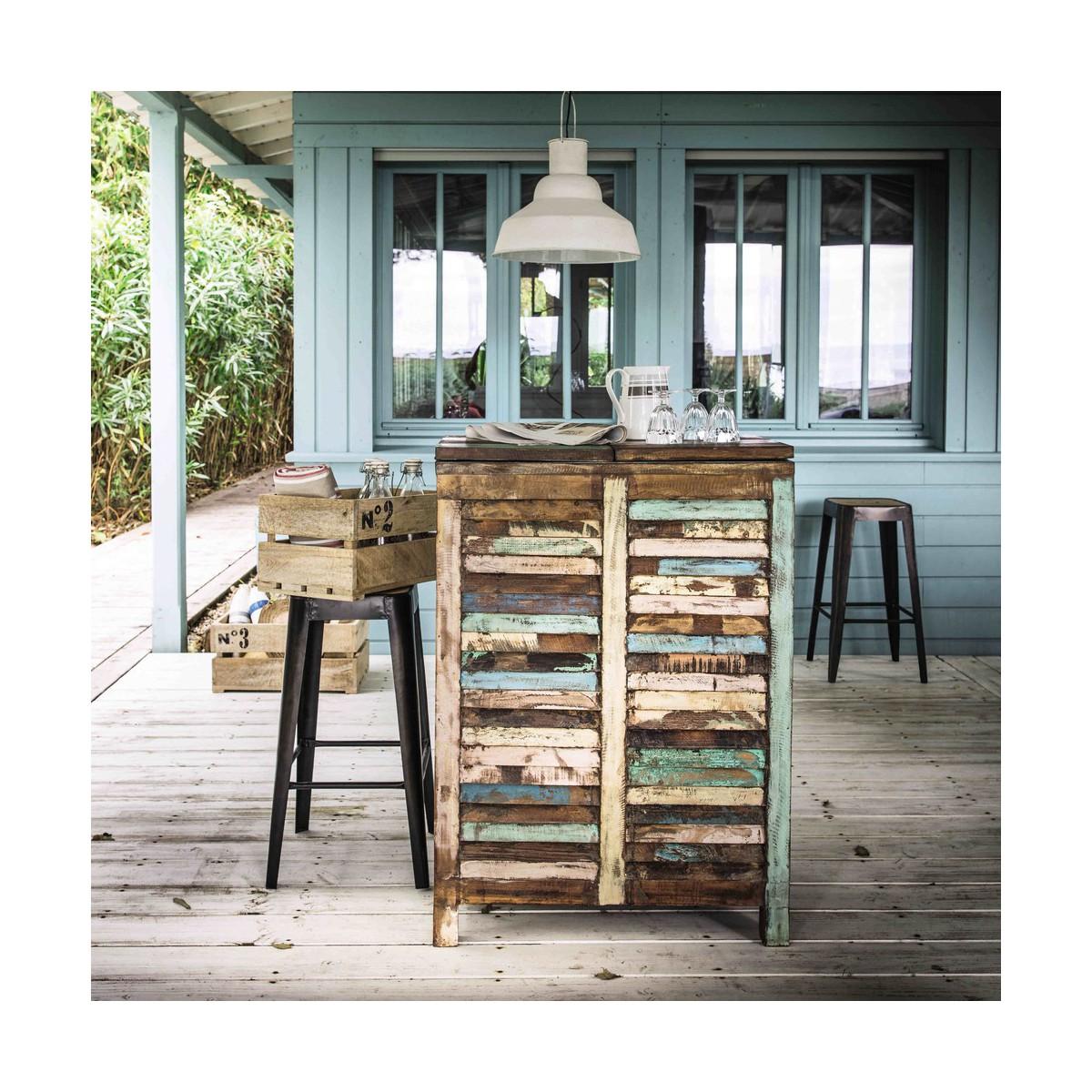 meuble de bar en bois recycl multicolore l 75 cm. Black Bedroom Furniture Sets. Home Design Ideas