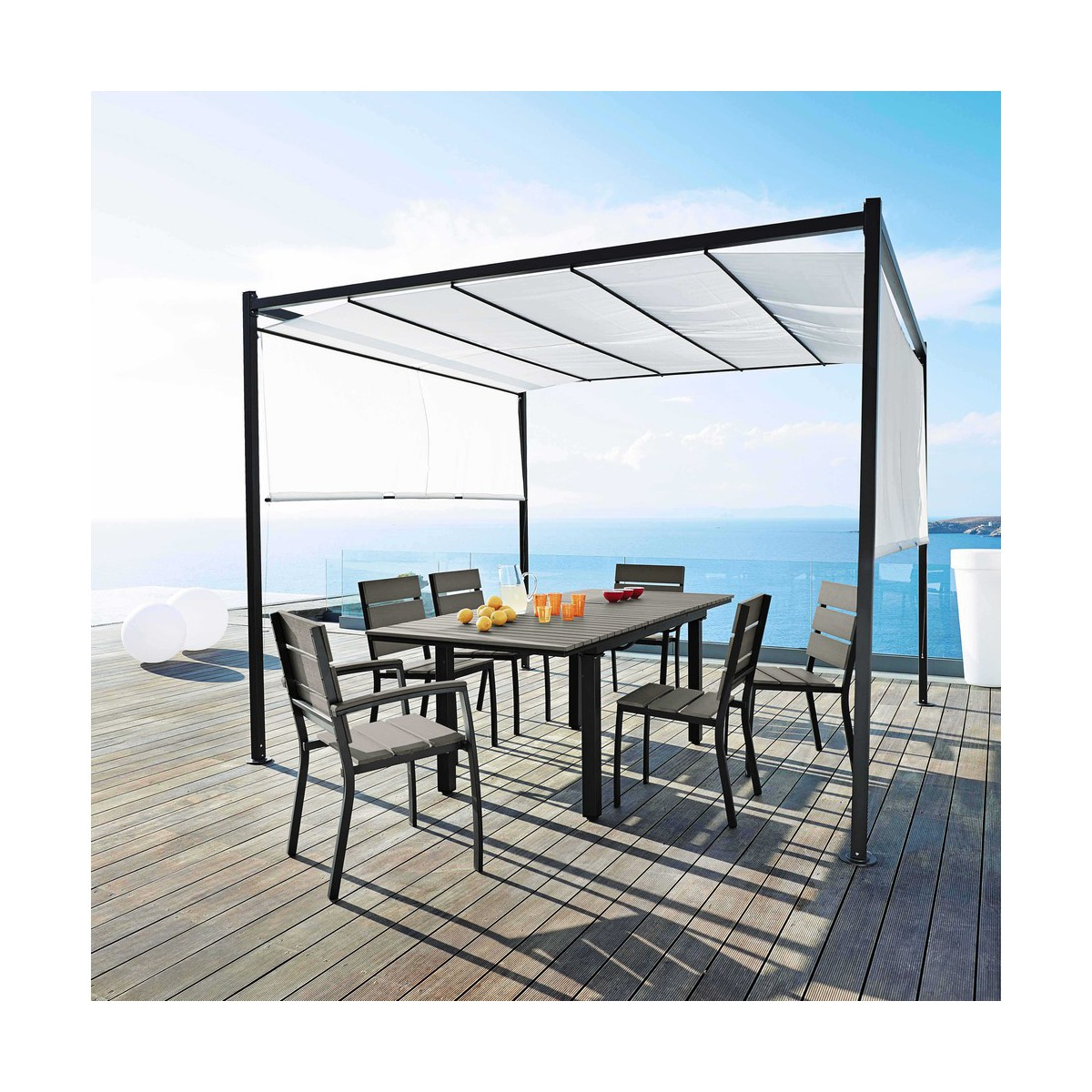 Best Table De Jardin En Aluminium Imitation Bois Photos Amazing  # Table De Jardin Ludon