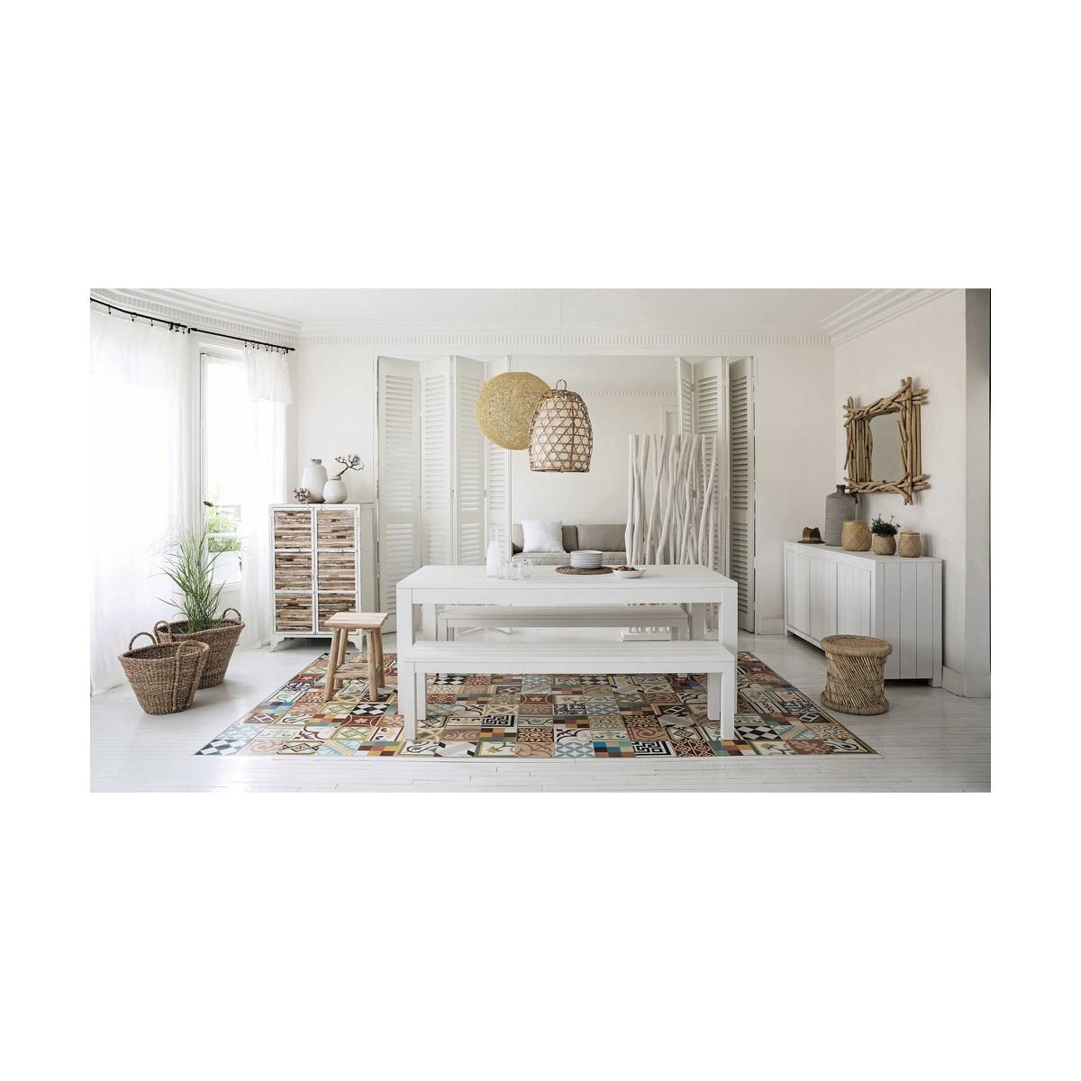 Table de salle manger en bois massif blanche l 160 cm for Salle a manger en bois massif