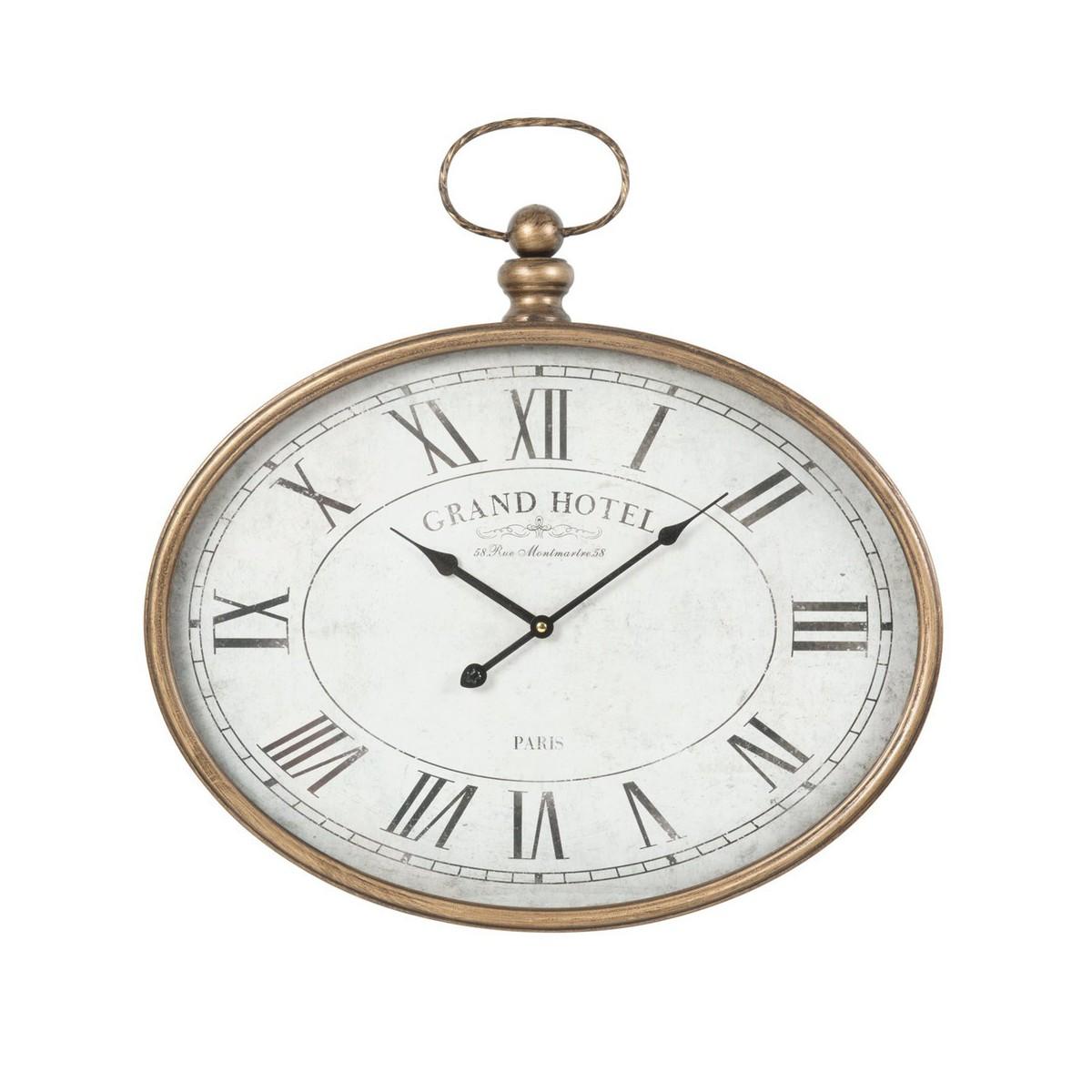 horloge gousset ovale metal murale