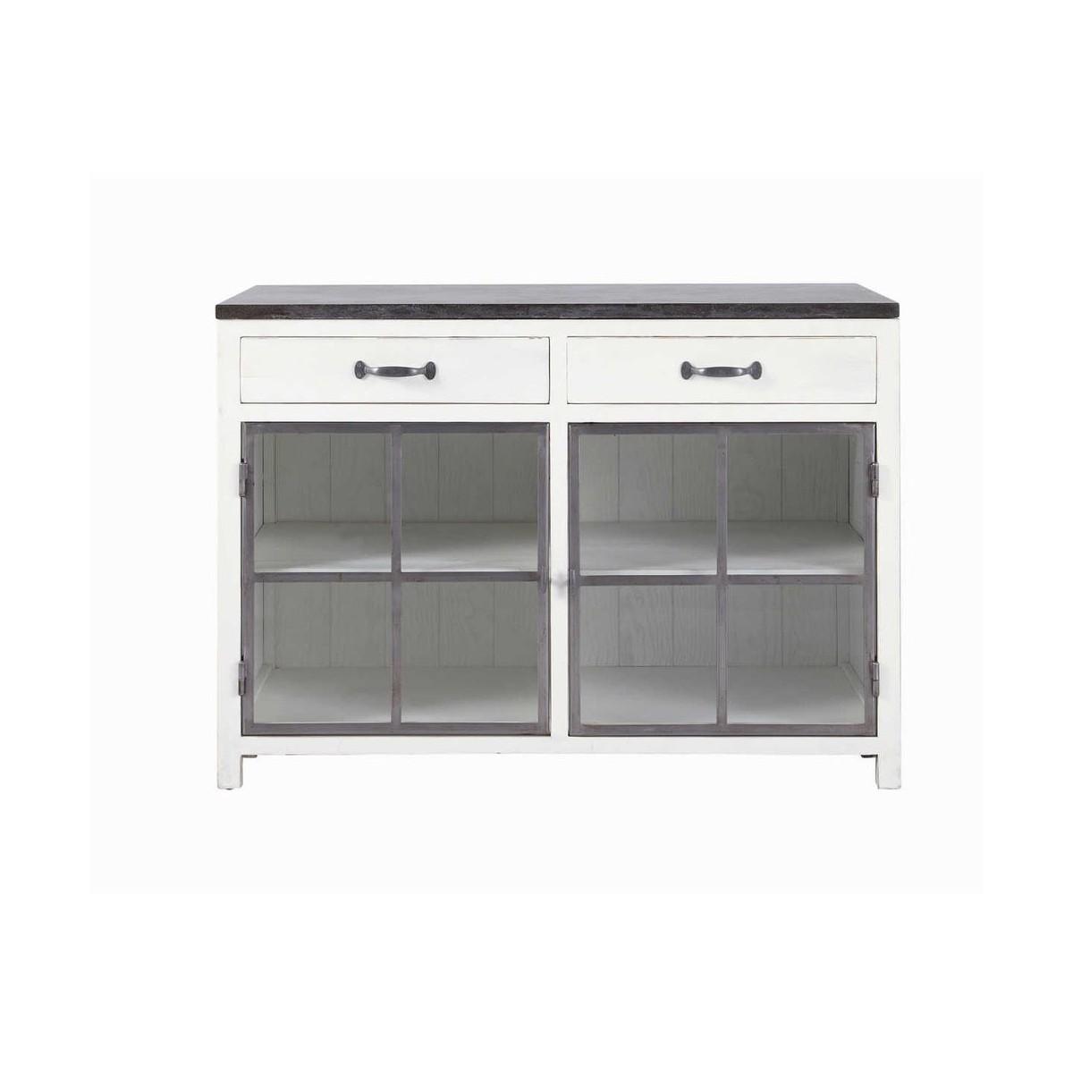 meuble bas vitré de cuisine en bois recyclé et pierre blanc l 120 cm - Meuble De Cuisine 120 Cm