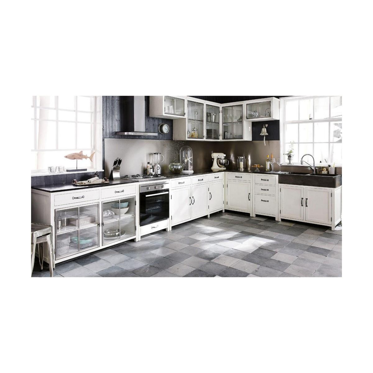 meuble haut d'angle de cuisine ouverture gauche en bois recyclé ... - Meuble Haut D Angle Cuisine