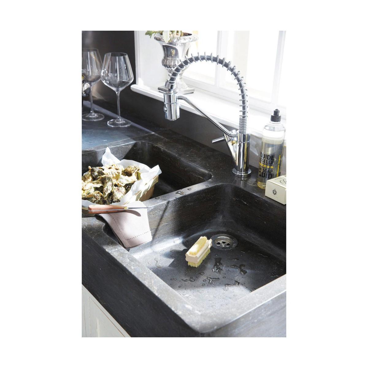 meuble bas de cuisine avec évier en bois recyclé blanc l 90 cm - Meuble Cuisine 90 Cm