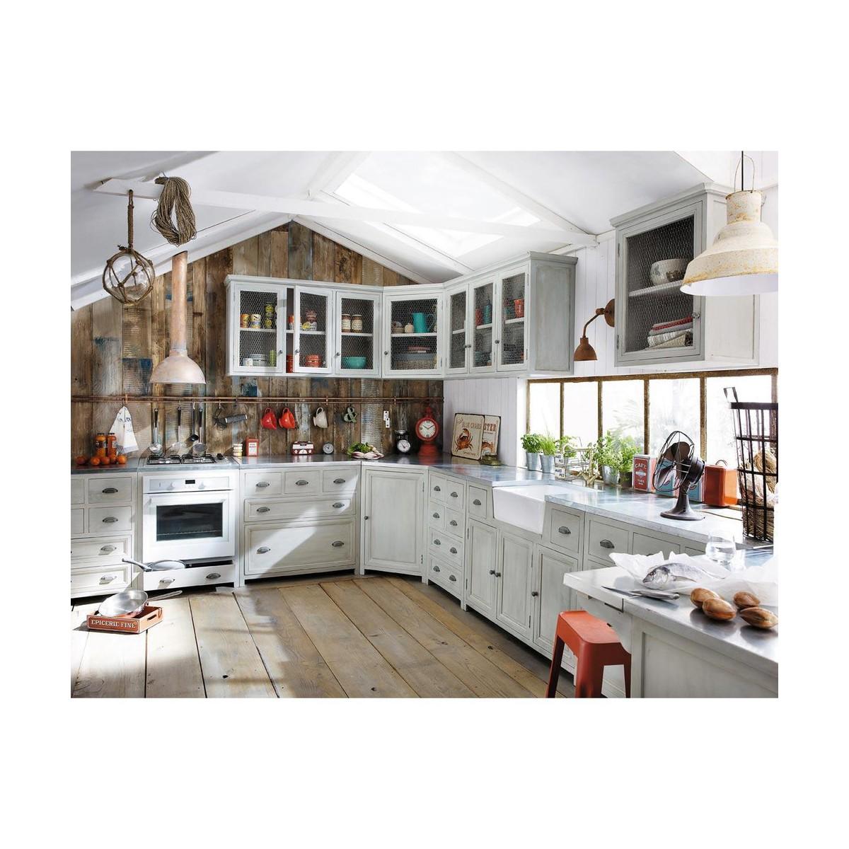 meuble haut d'angle de cuisine en bois d'acacia gris l 76 cm - Meuble Haut D Angle Cuisine