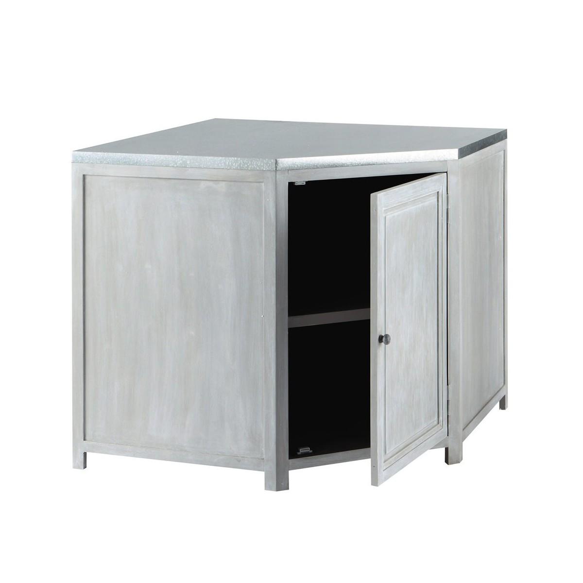 Meuble bas d 39 angle de cuisine en bois d 39 acacia gris l 99 cm for Meuble de cuisine en l
