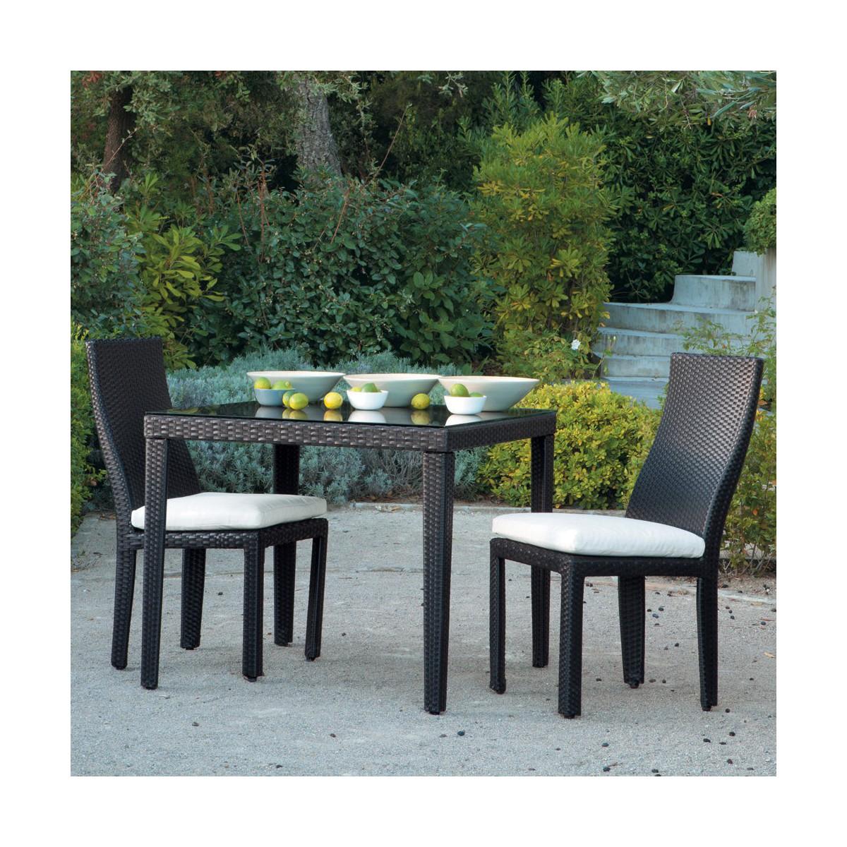 chaise de jardin + coussin en résine tressée et tissu noire - Table Et Chaise De Jardin En Resine Tressee