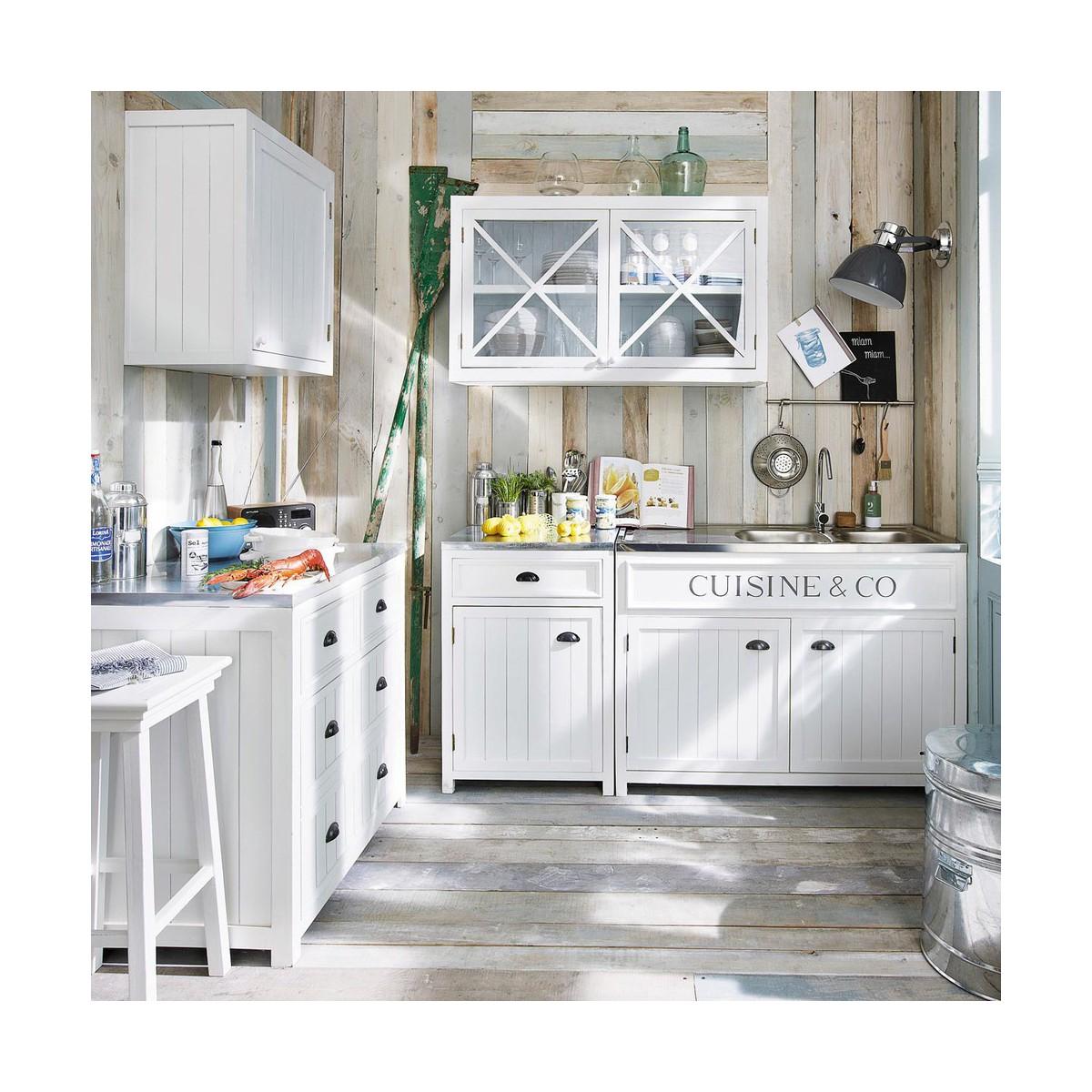meuble bas de cuisine en bois blanc l 90 cm - Meuble Cuisine 90 Cm