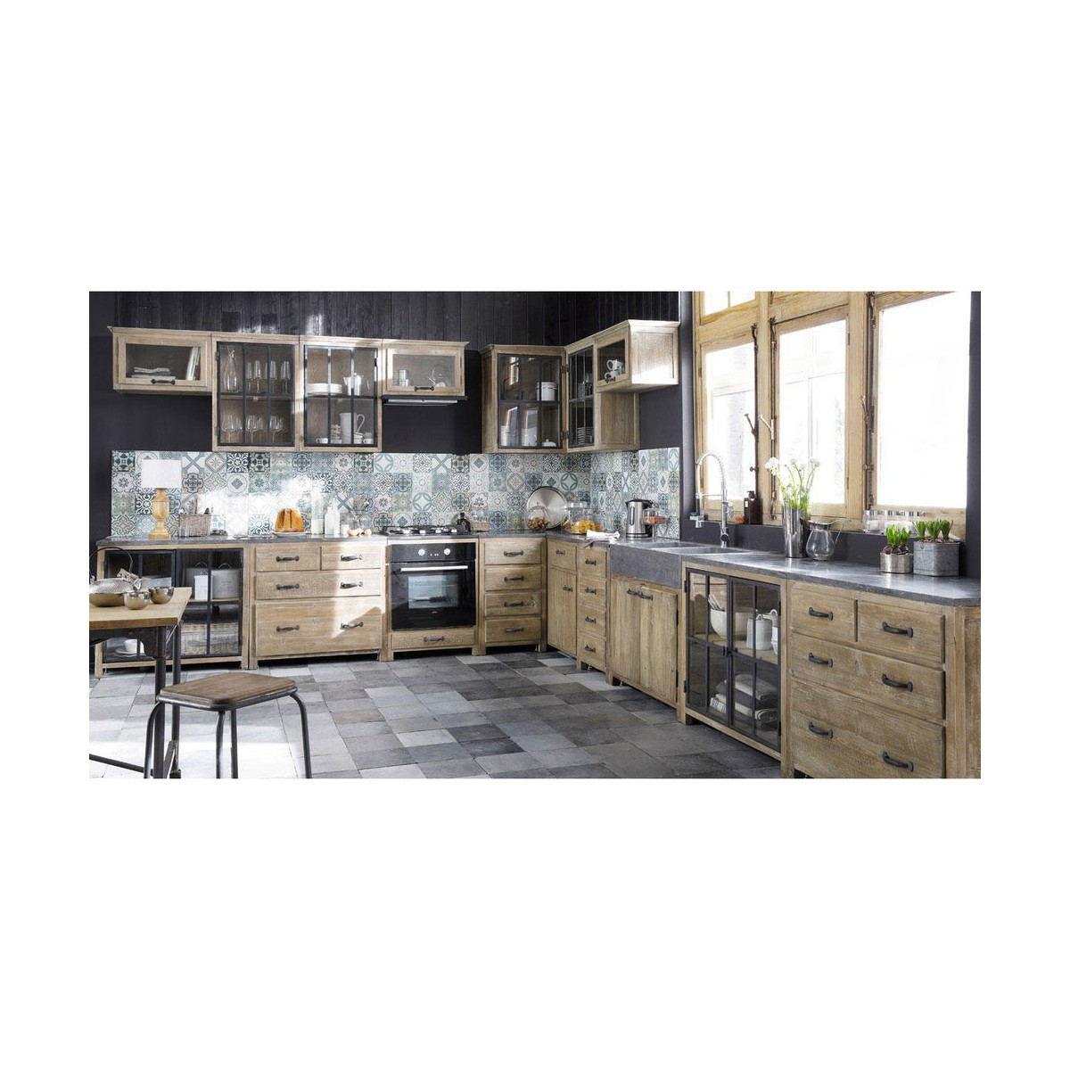 awesome with meuble haut cuisine vitr with meuble cuisine bois recycl. Black Bedroom Furniture Sets. Home Design Ideas