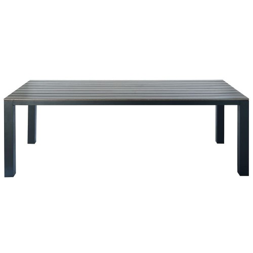 Table de jardin en composite imitation bois et aluminium grise L 230 cm