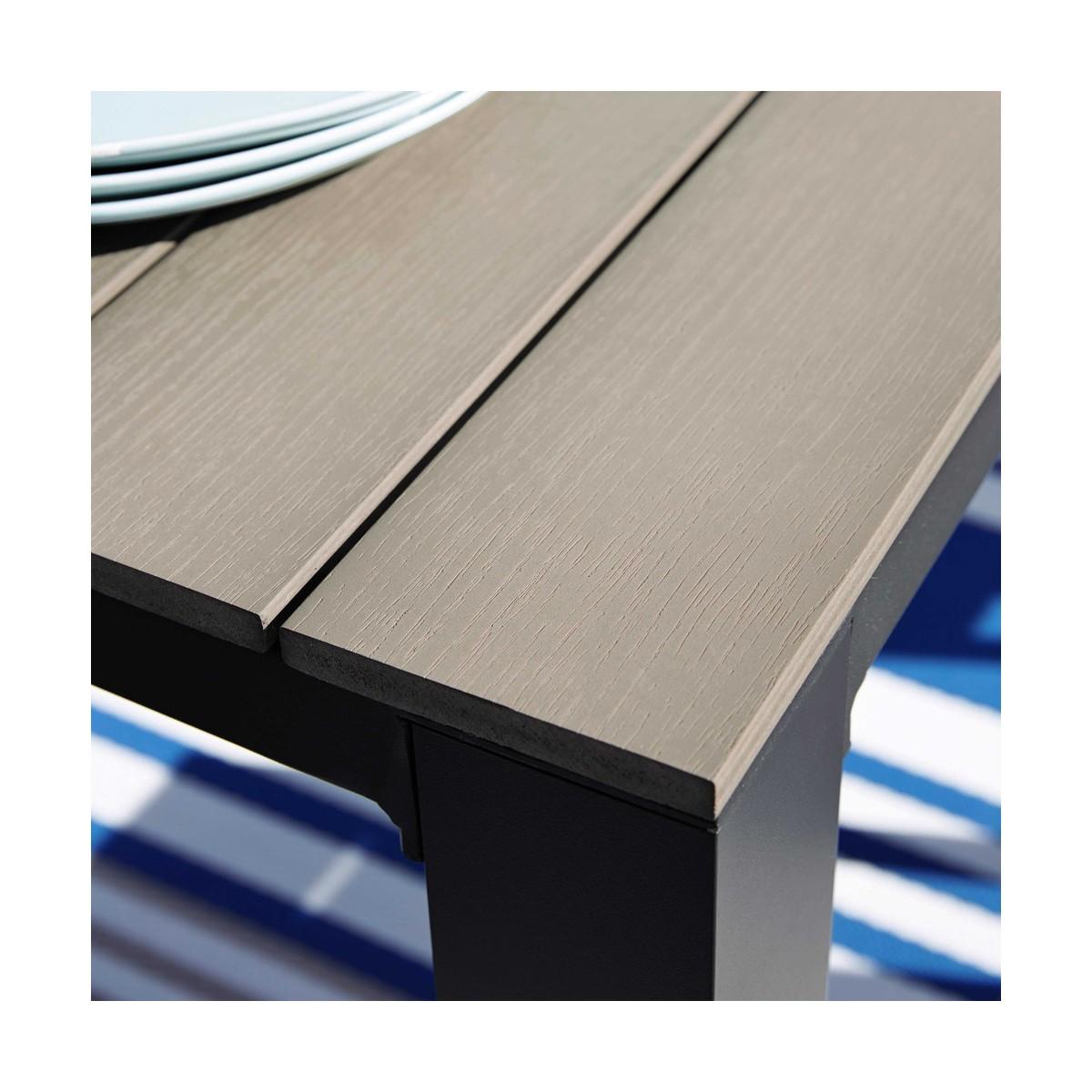 Table de jardin en composite imitation bois et aluminium grisée