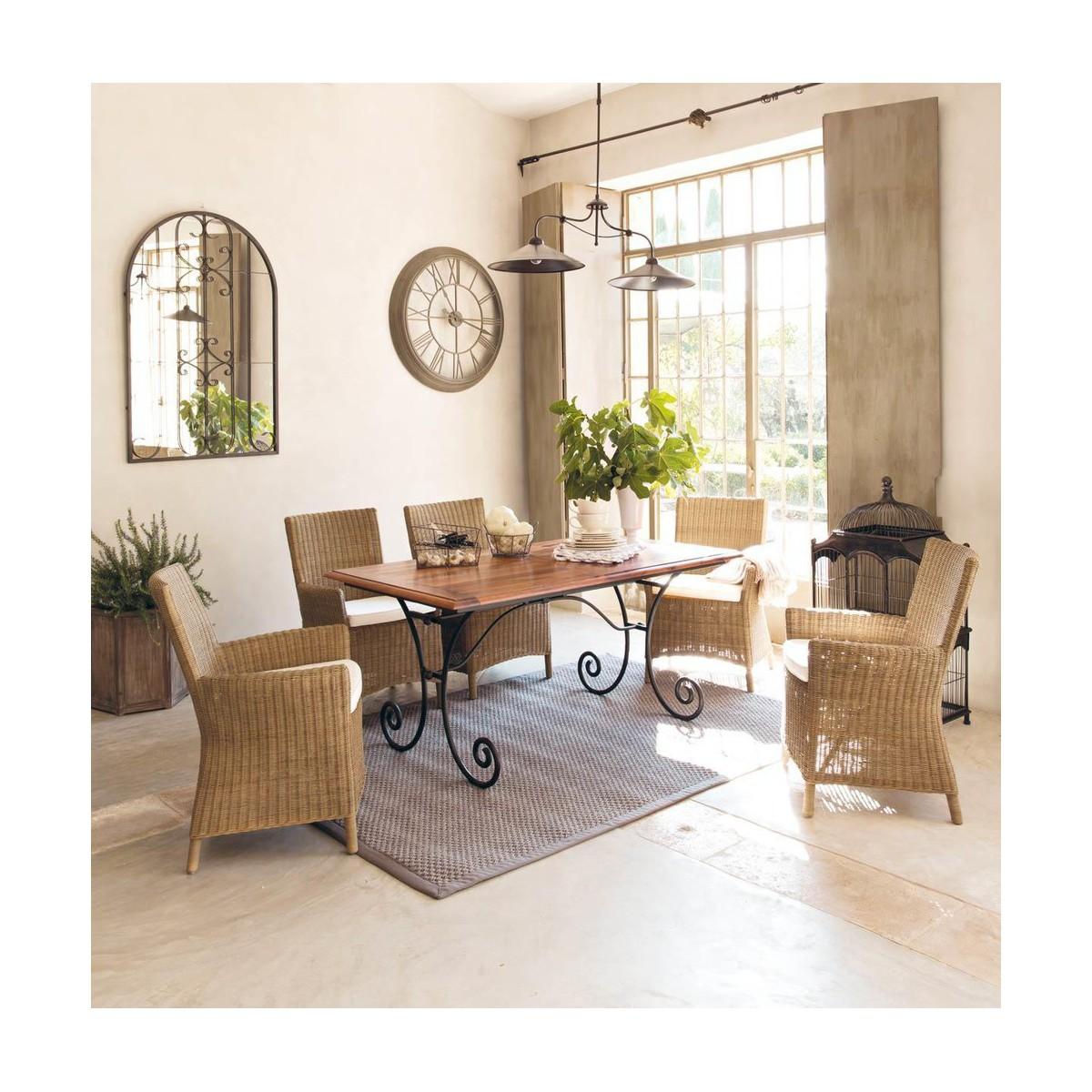 Pin en fer forg plateau en bois de ch ne pour table ronde - Table fer et bois salle manger ...