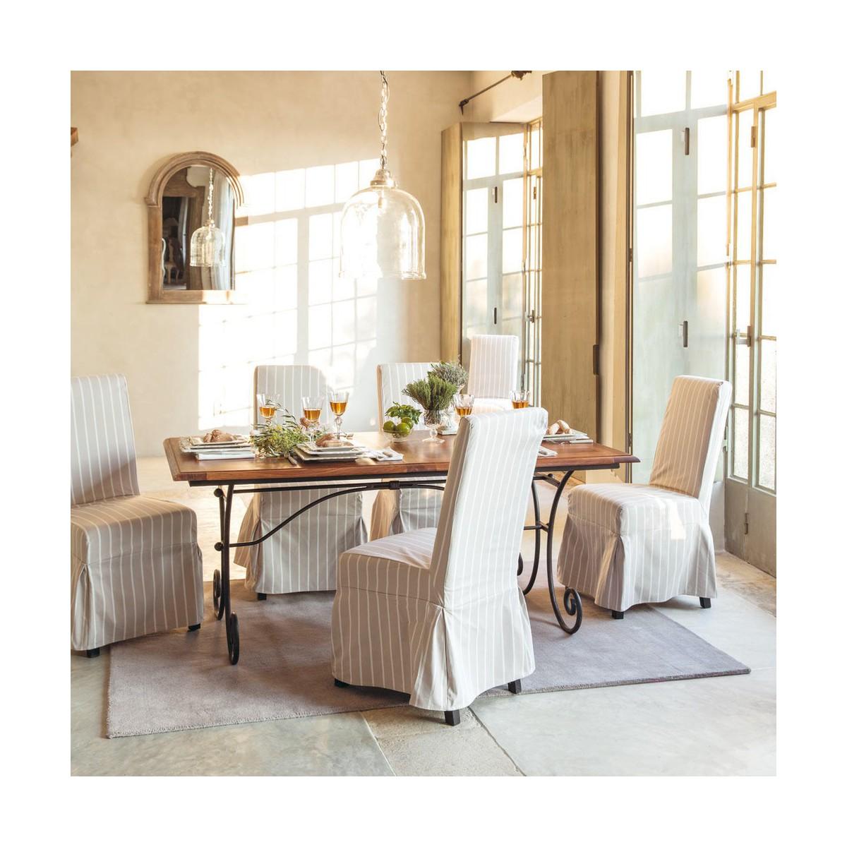 Pin en fer forg plateau en bois de ch ne pour table ronde - Table salle a manger fer et bois ...