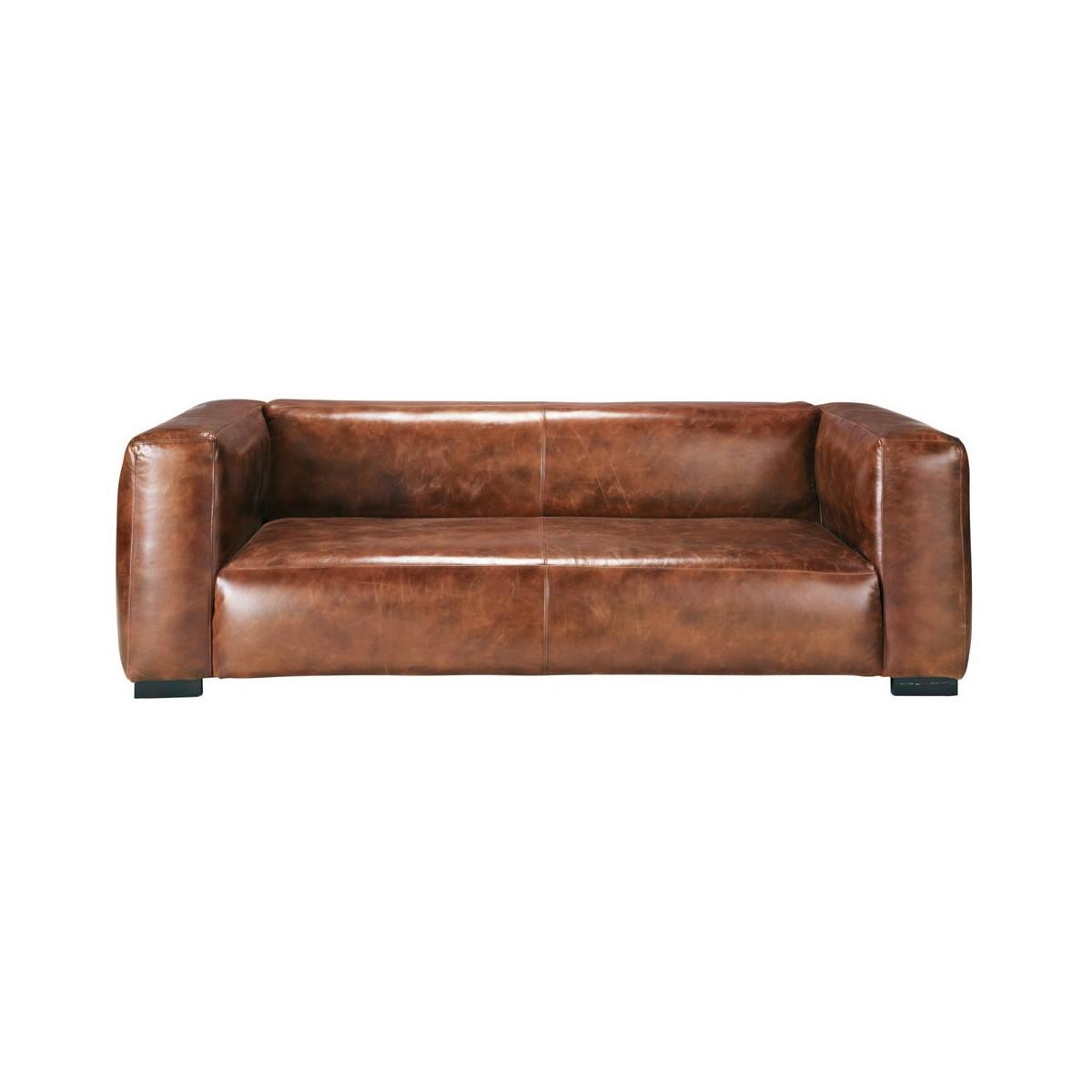 canap 3 4 places en cuir marron. Black Bedroom Furniture Sets. Home Design Ideas