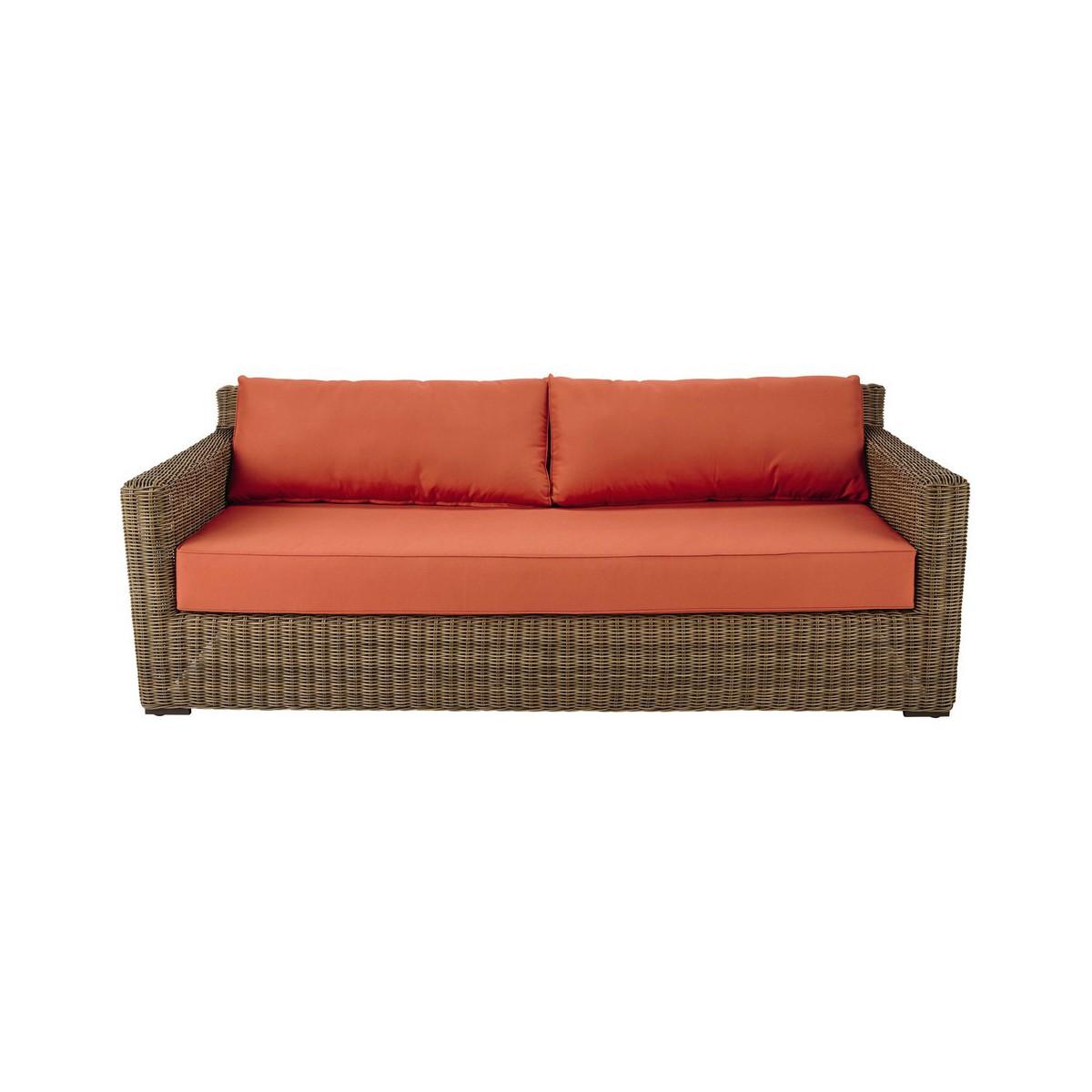 Canap de jardin 3 4 places en r sine tress e et tissu rouge brique - Canape 4 places tissu ...