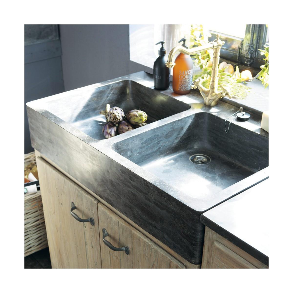 meuble bas de cuisine avec évier en bois recyclé l 90 cm - Meuble Cuisine 90 Cm
