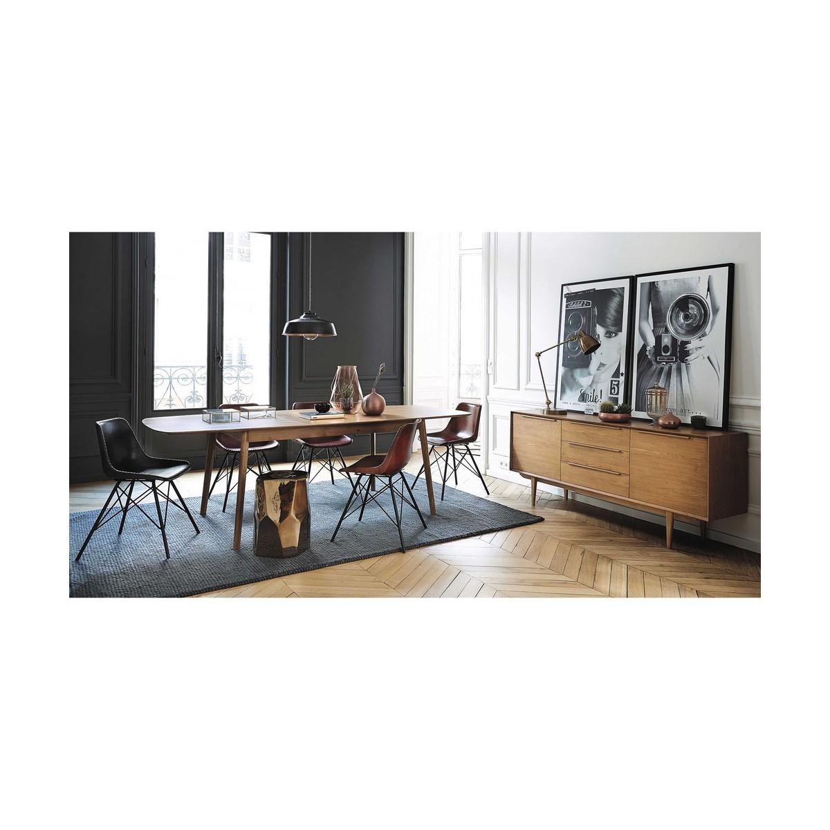 table de salle manger vintage en ch ne massif l 180 cm. Black Bedroom Furniture Sets. Home Design Ideas