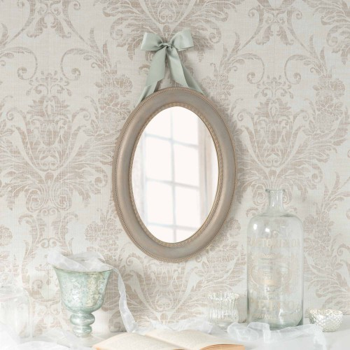 Miroir ovale avec ruban en polyr sine 40 x 50 cm delerry for Miroir 50 40