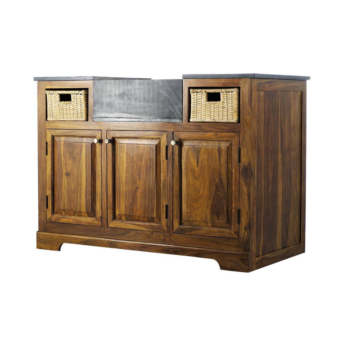 meuble bas de cuisine en bois de sheesham massif l 120 cm - Meuble De Cuisine 120 Cm