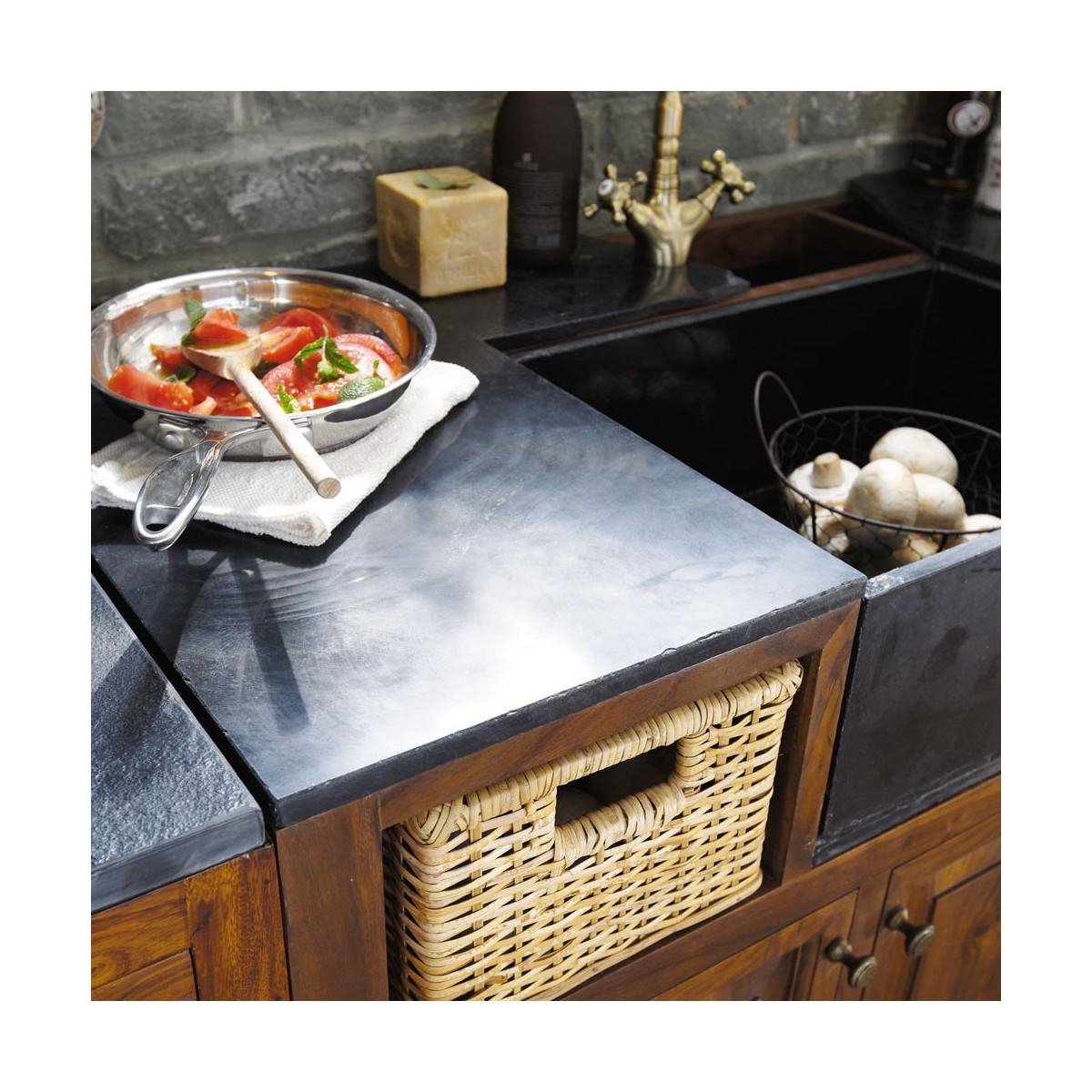 meuble bas de cuisine en bois de sheesham massif l 120 cm - Meuble Bas Cuisine 120