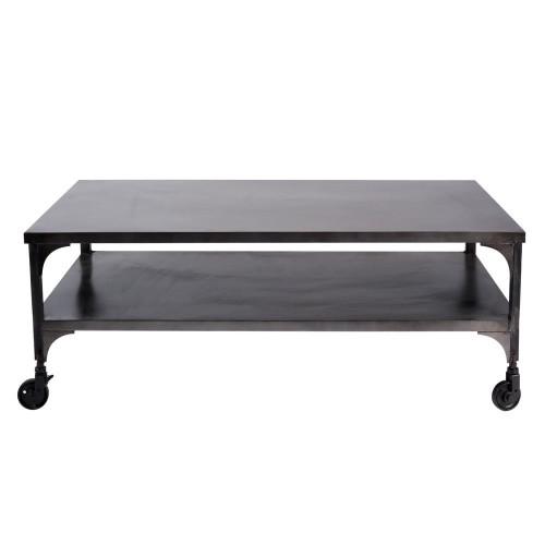 table basse à roulettes en métal effet vieilli l 110 cm