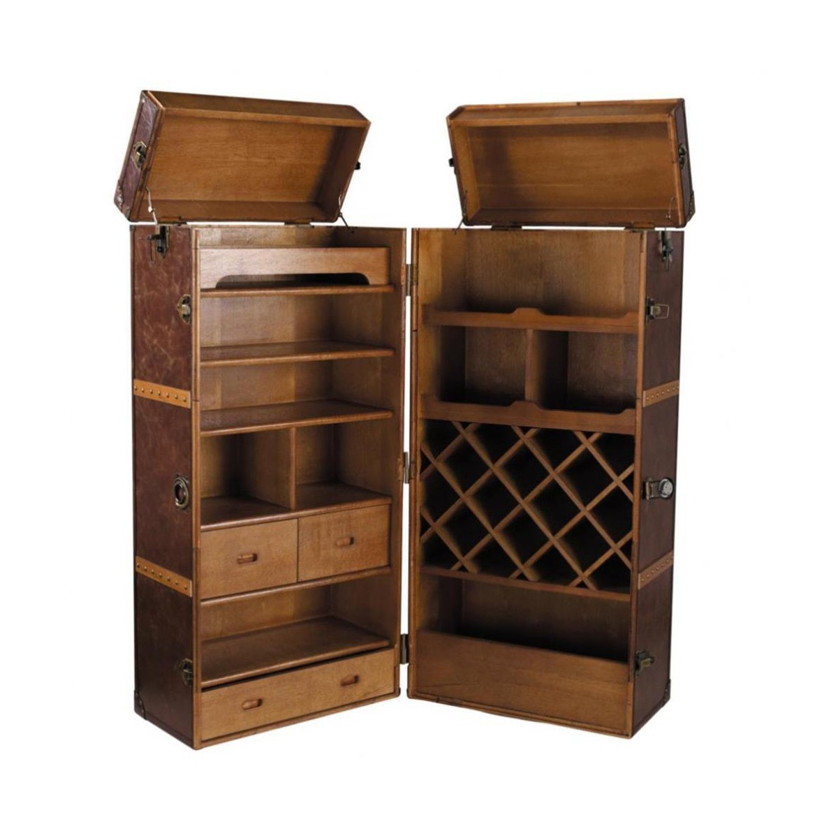 meuble de bar avec tiroirs en bois et cuir l 60 cm. Black Bedroom Furniture Sets. Home Design Ideas