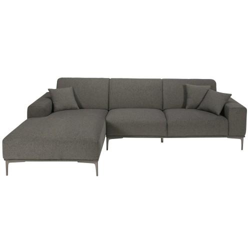 Canapé d angle gauche 5 places en tissu gris chiné