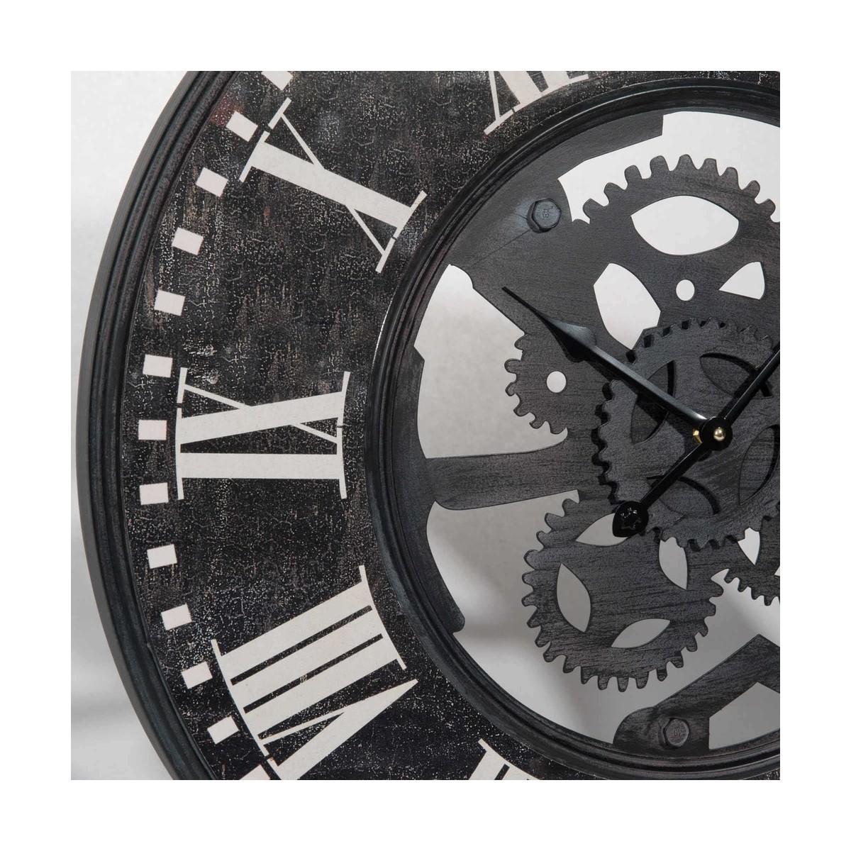 Horloge rouages en m tal noir effet vieilli tobias for Horloge metal noir