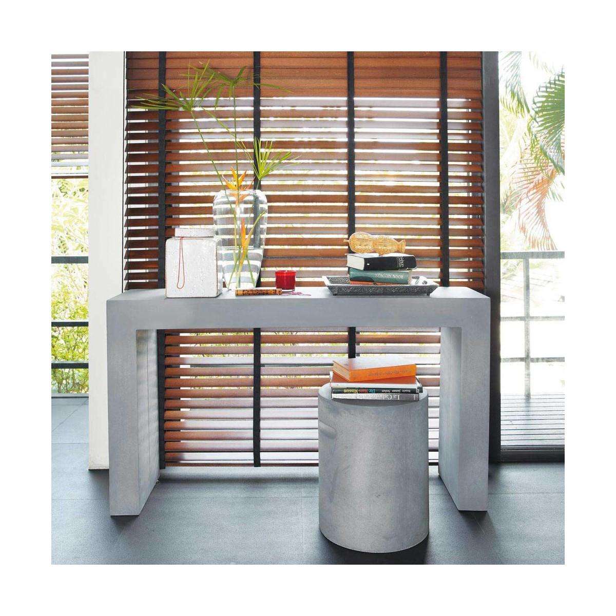 table console effet b ton en magn sie grise l 135 cm. Black Bedroom Furniture Sets. Home Design Ideas